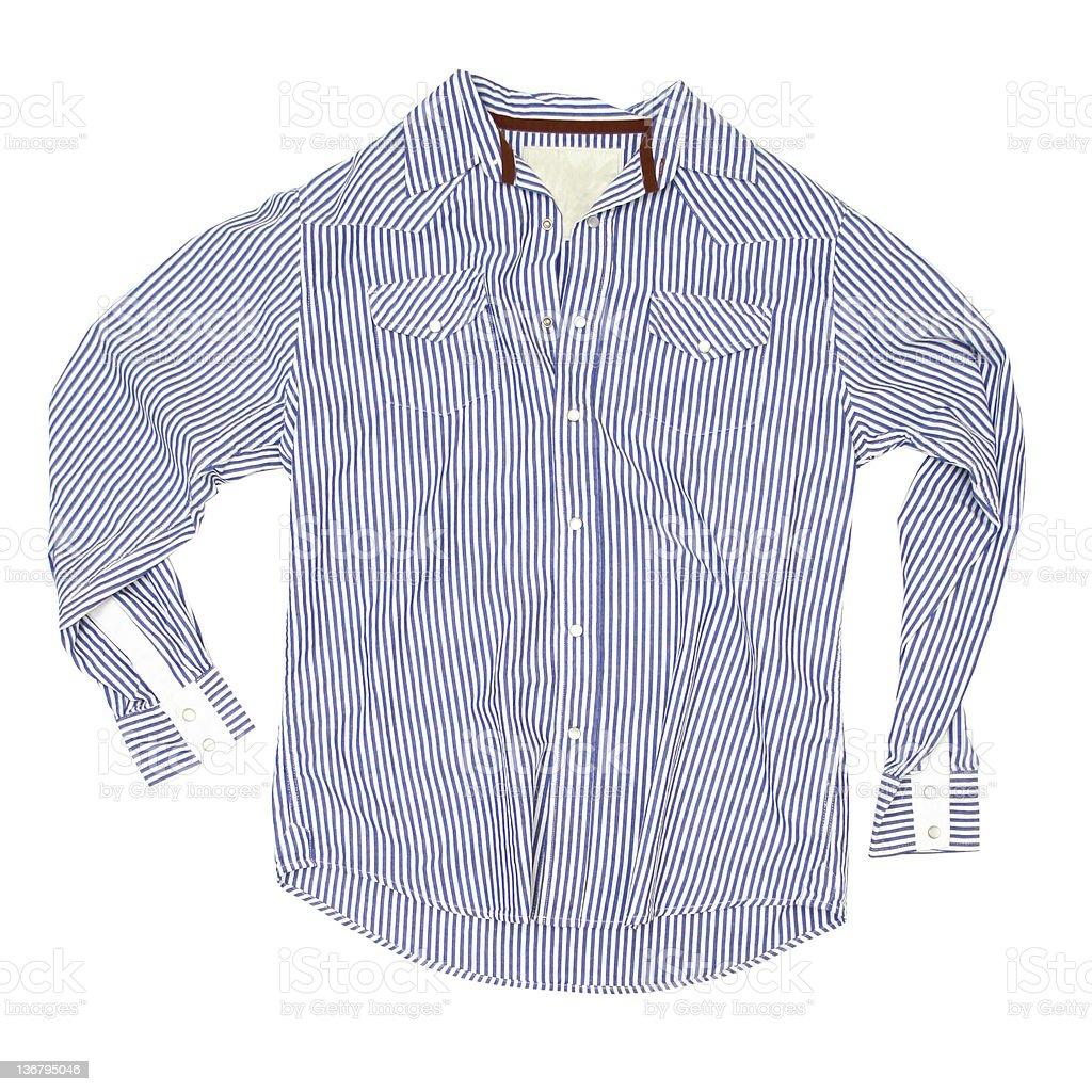 Blue Pajama Shirt on White Background royalty-free stock photo