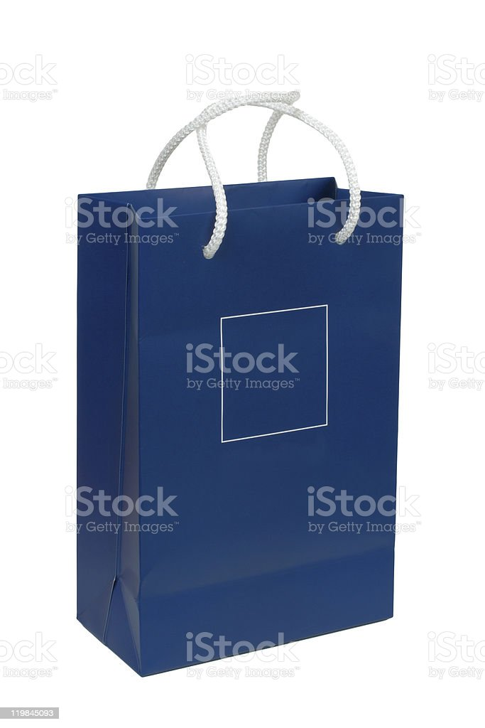 Blue paper bag royalty-free stock photo