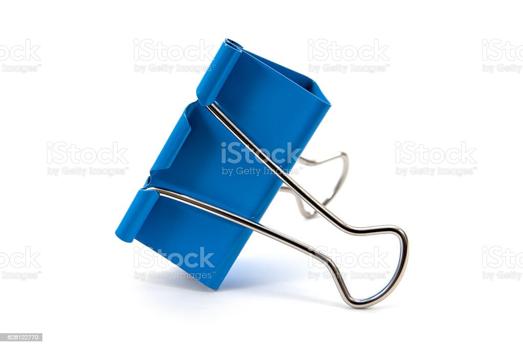 Blue paper clip isolated on white background stock photo