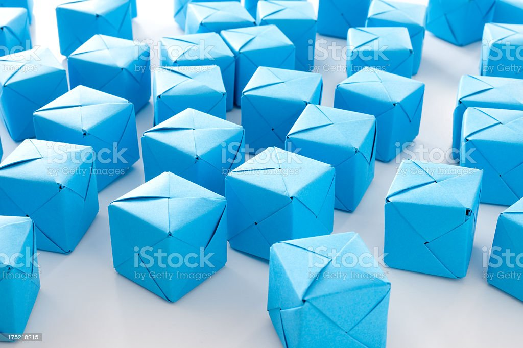 Blue paper cubes royalty-free stock photo