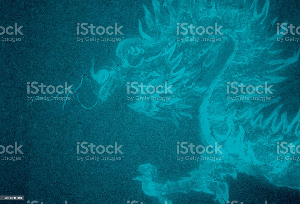 blue paper dragon background stock photo