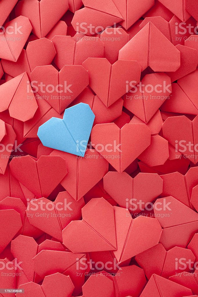 Blue paper heart royalty-free stock photo