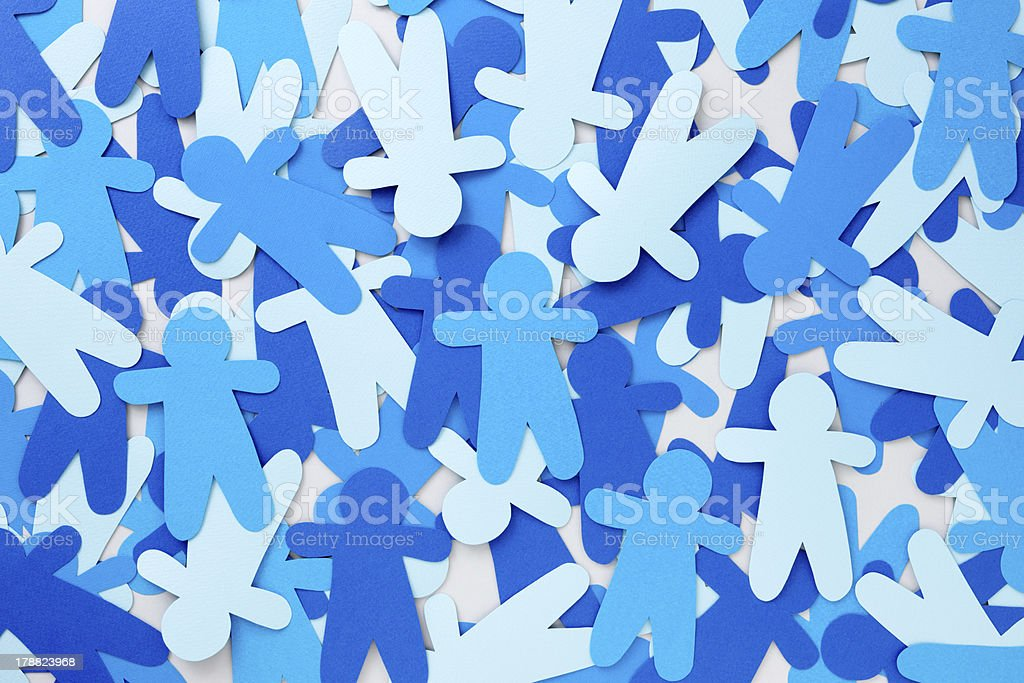 Blue paper people royalty-free stock photo