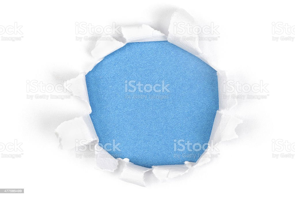 Blue Paper Torn Hole stock photo