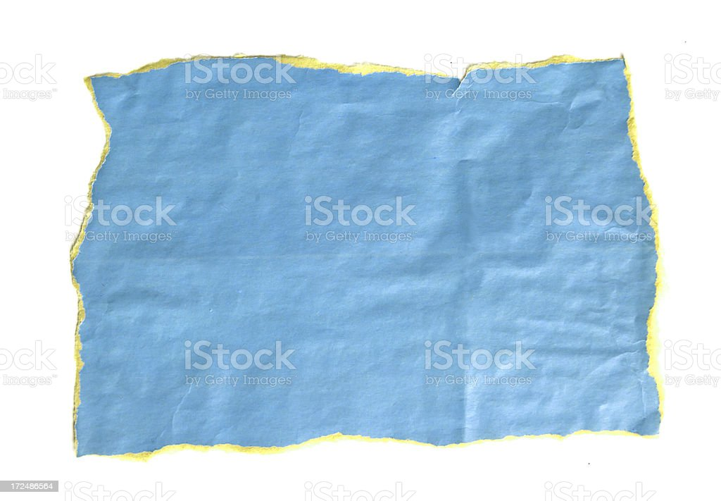 Blue  paper with frayed edges. royalty-free stock photo