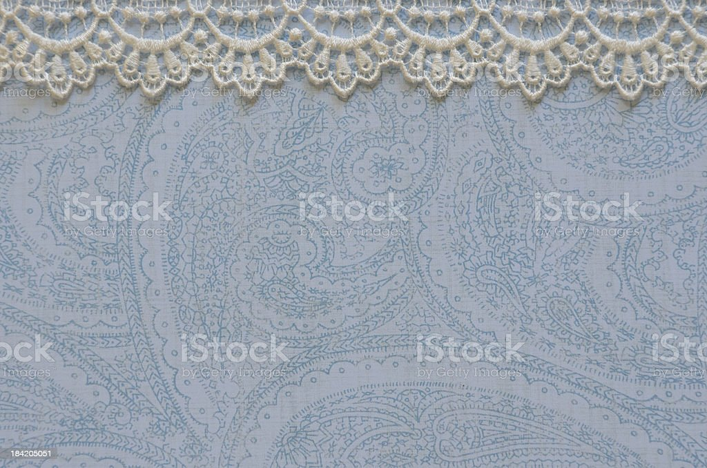 Blue Paper with White Lace Border stock photo