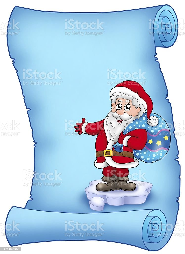 Blue parchment with Santa Claus 3 royalty-free stock photo