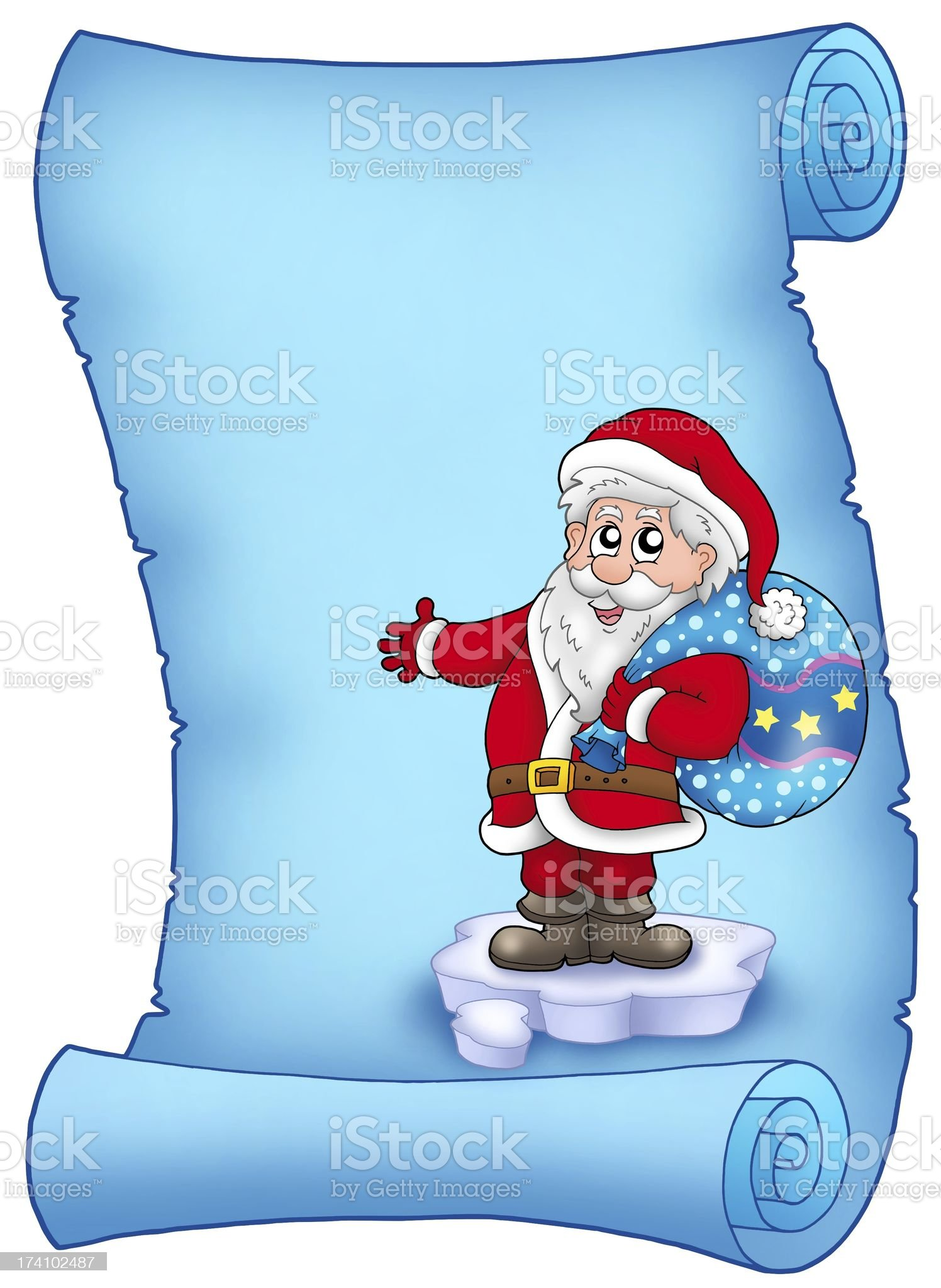 Blue parchment with Santa Claus 3 royalty-free stock vector art