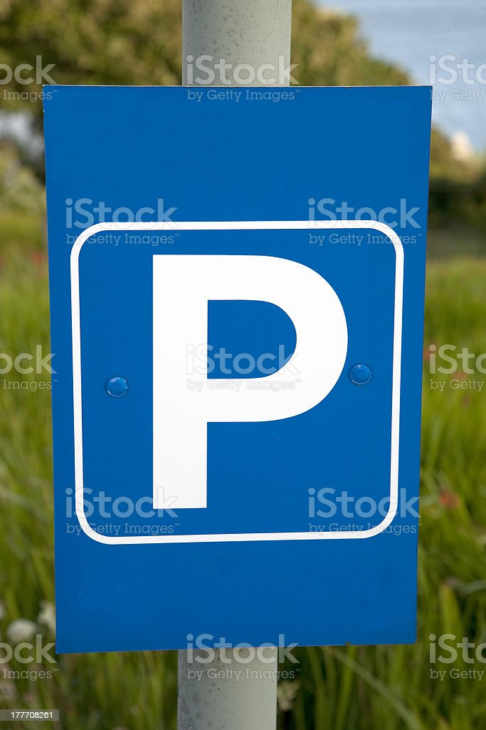 Blue Parking Lot Sign royalty-free stock photo