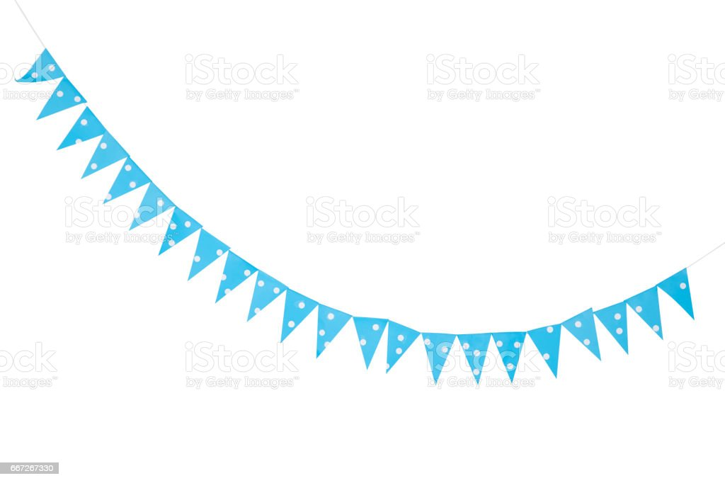 blue party bunting flags stock photo