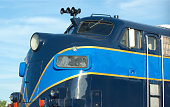 blue passenger train locomotive railway business travel