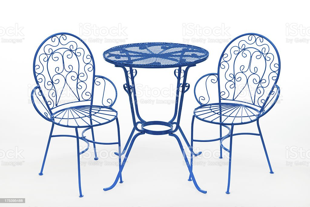 Blue patio table and chair stock photo