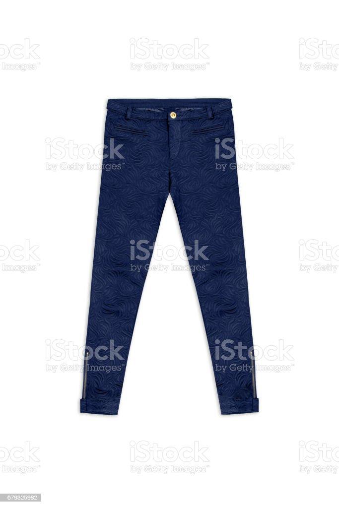blue pattern jacquard pants, isolated on white background stock photo
