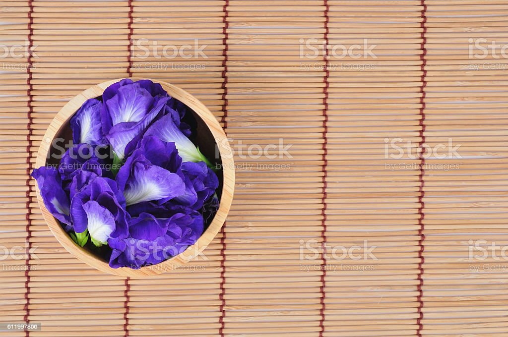 Blue pea or butterfly pea close up on background stock photo