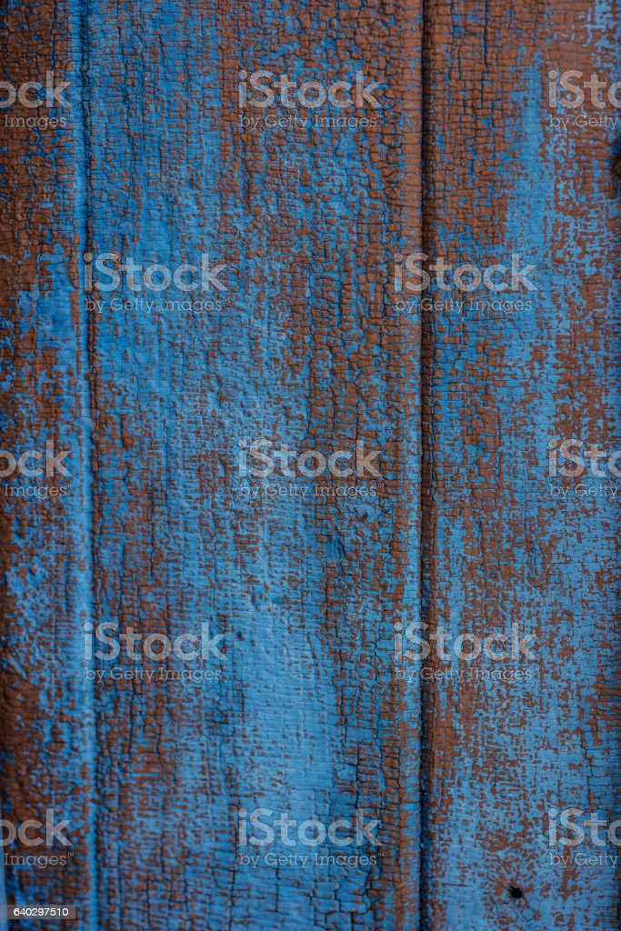 blue peel off paint on the wood, background stock photo