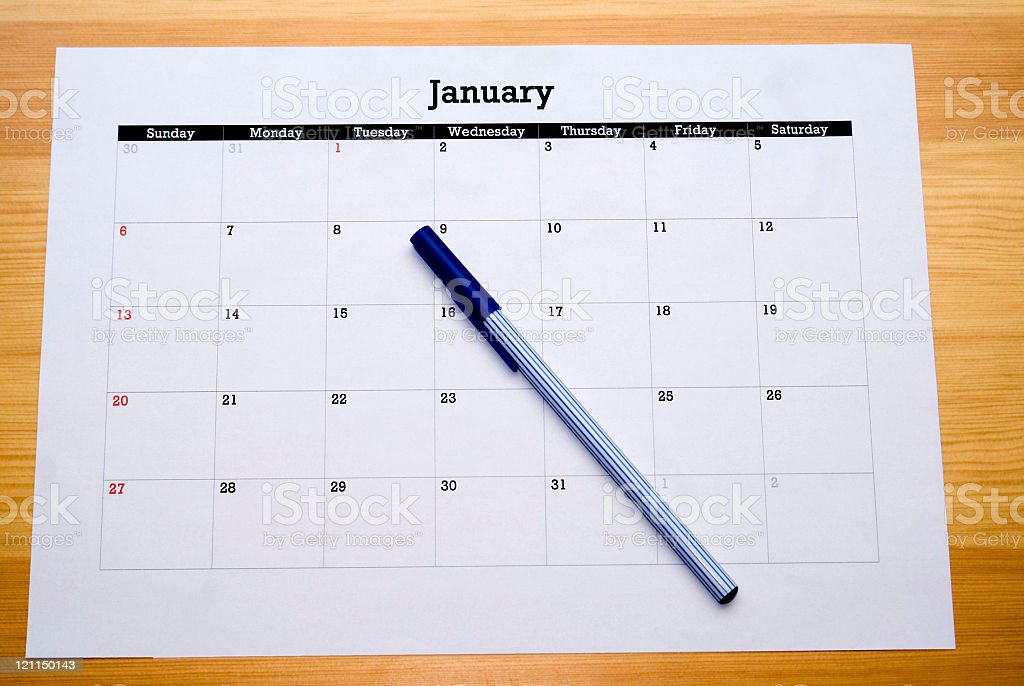 Blue Pen on New Years Day royalty-free stock photo