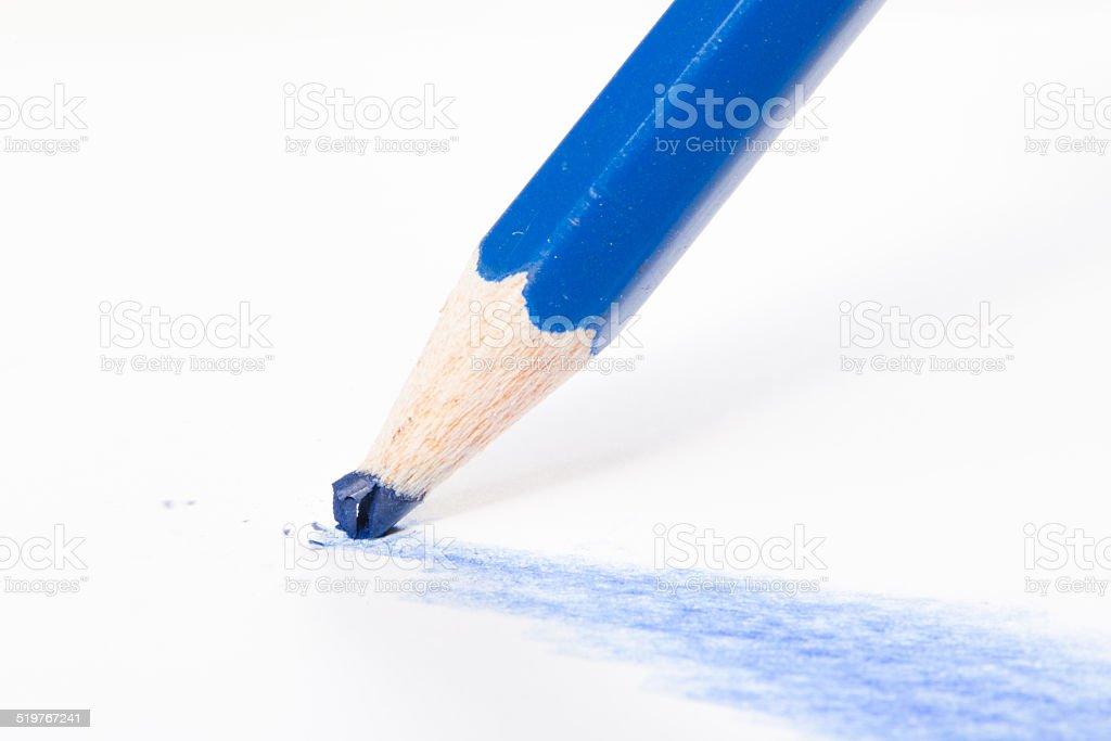 Blue pen tip breaks stock photo