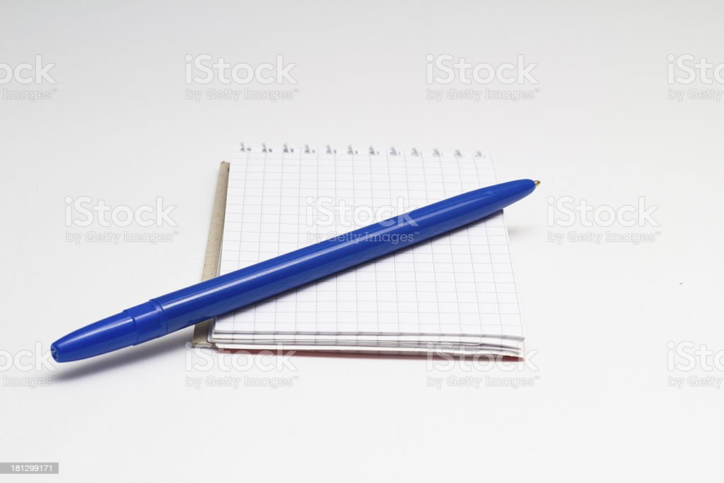 Blue pen with clean notebook stock photo