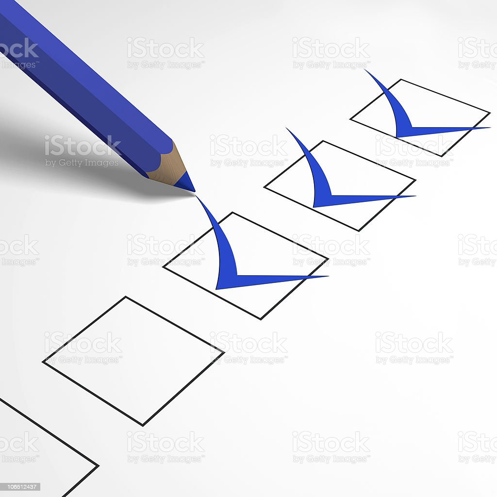 blue pencil and questionnaire royalty-free stock photo