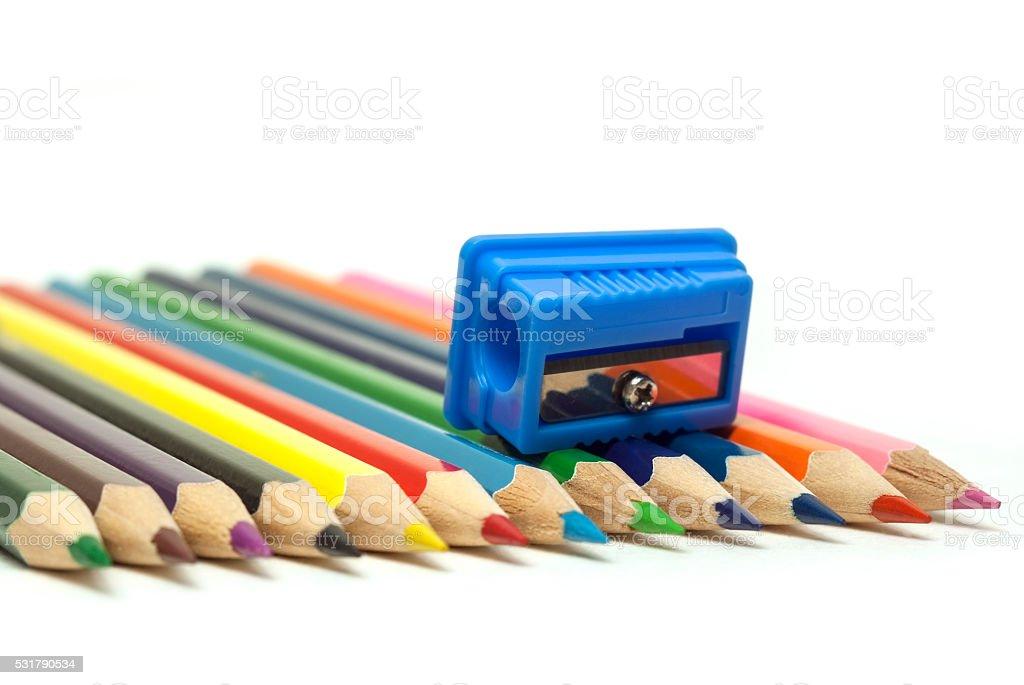 blue pencil sharpener royalty-free stock photo