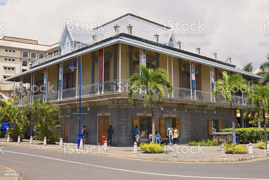 Blue Penny museum building in Port Louis, Mauritius. stock photo