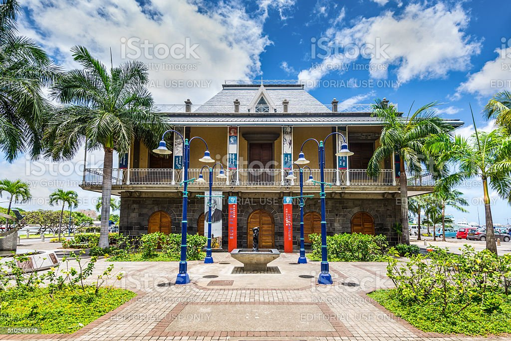 Blue Penny museum building in Port Louis, Mauritius stock photo
