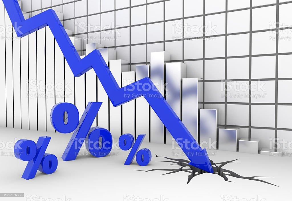 Blue percent sign crash stock photo