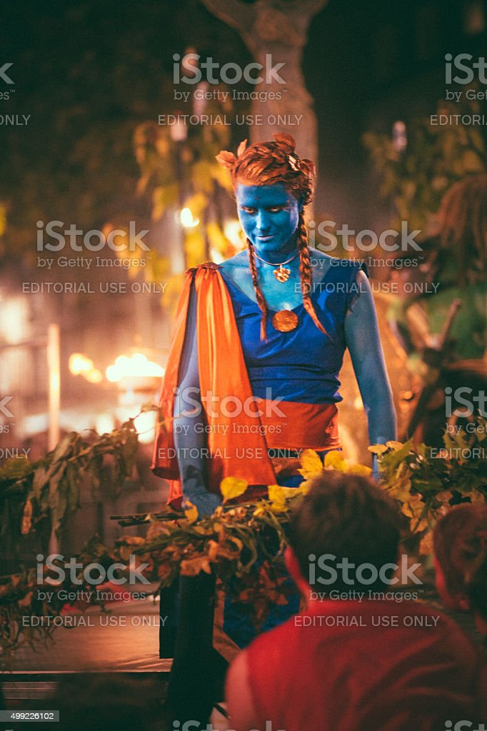 Blue Performers at the Samhuinn Fire Festival, Edinburgh stock photo