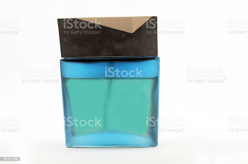 Blue perfume for men isolated on white stock photo