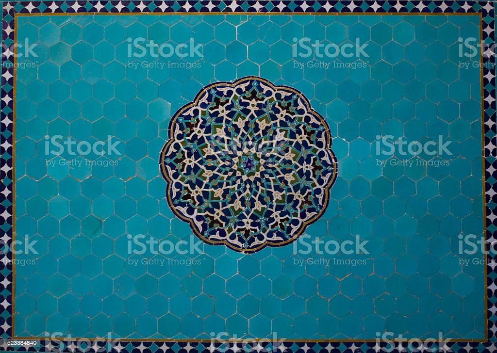 Blue Persian mosaic stock photo
