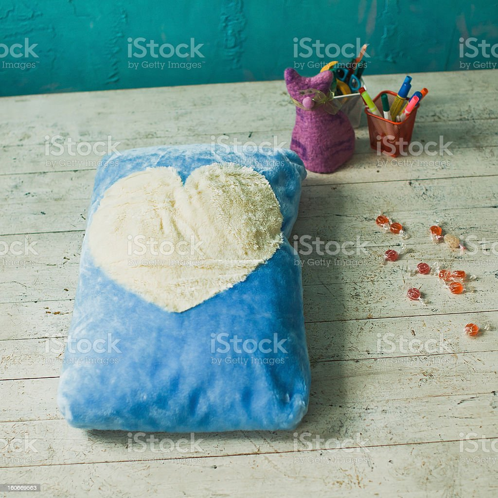 Blue pet place with white heart in interior royalty-free stock photo