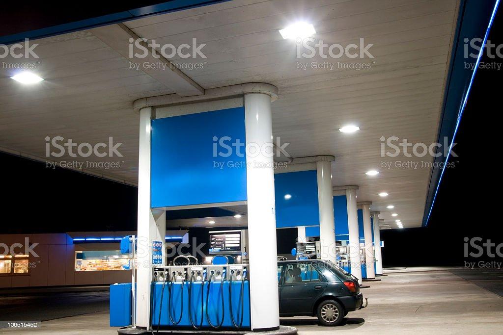 Blue petrol station stock photo