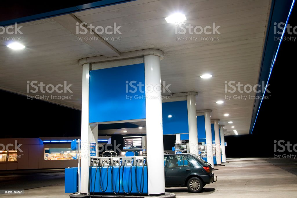 Blue petrol station stock photo