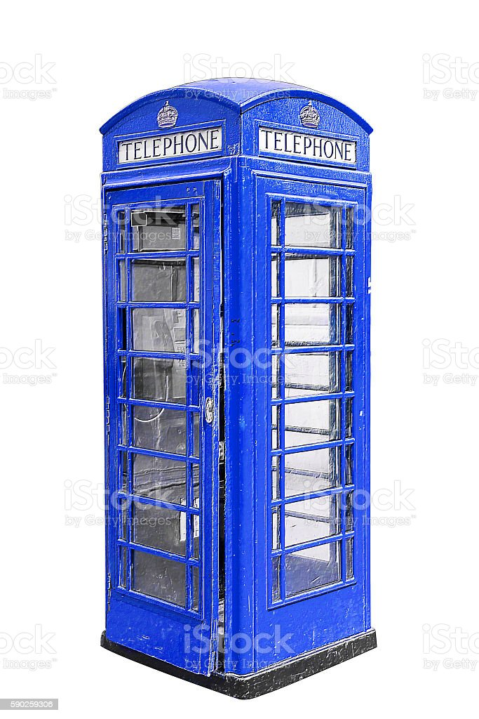 Blue phone booth in London UK, isolated on white stock photo