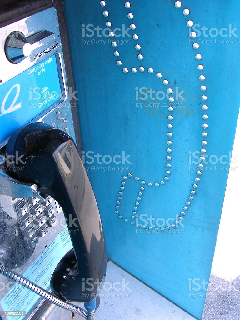 blue phone booth stock photo