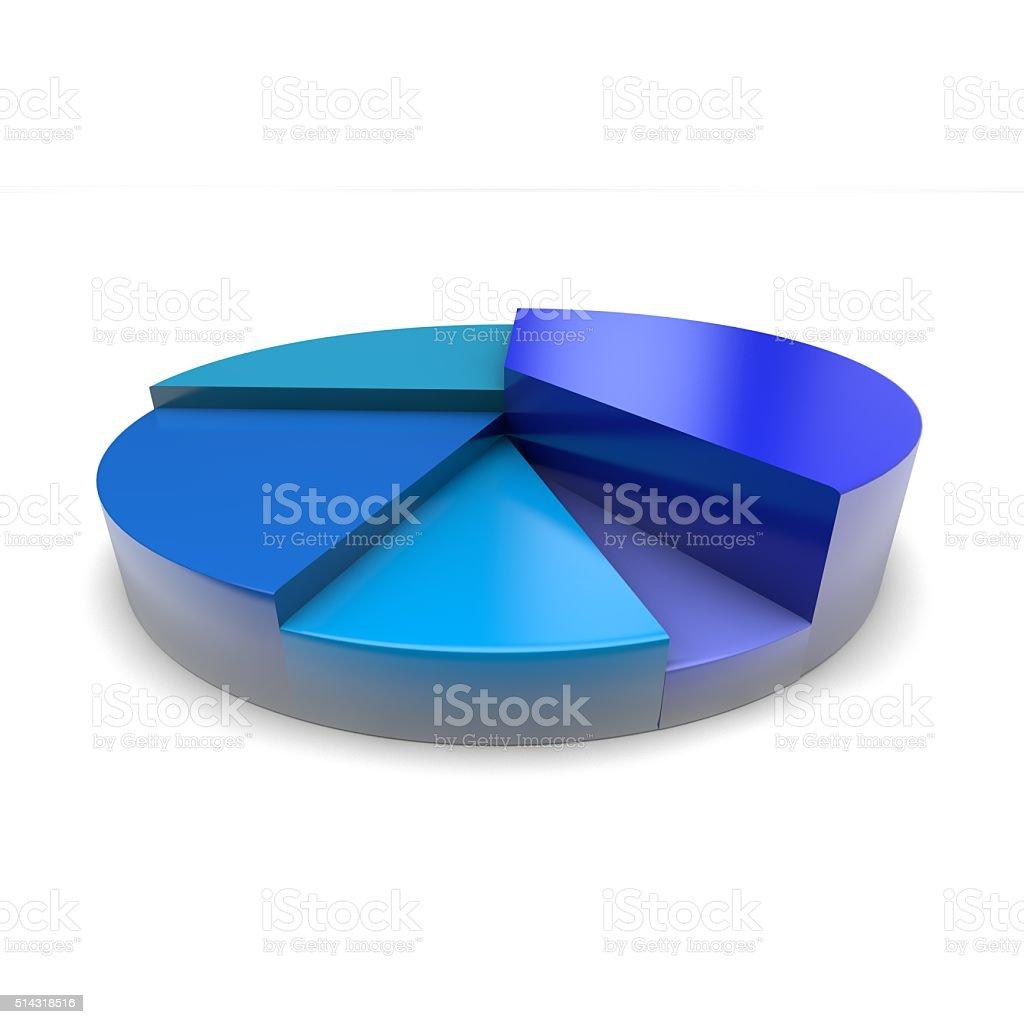Blue pie chart stock photo