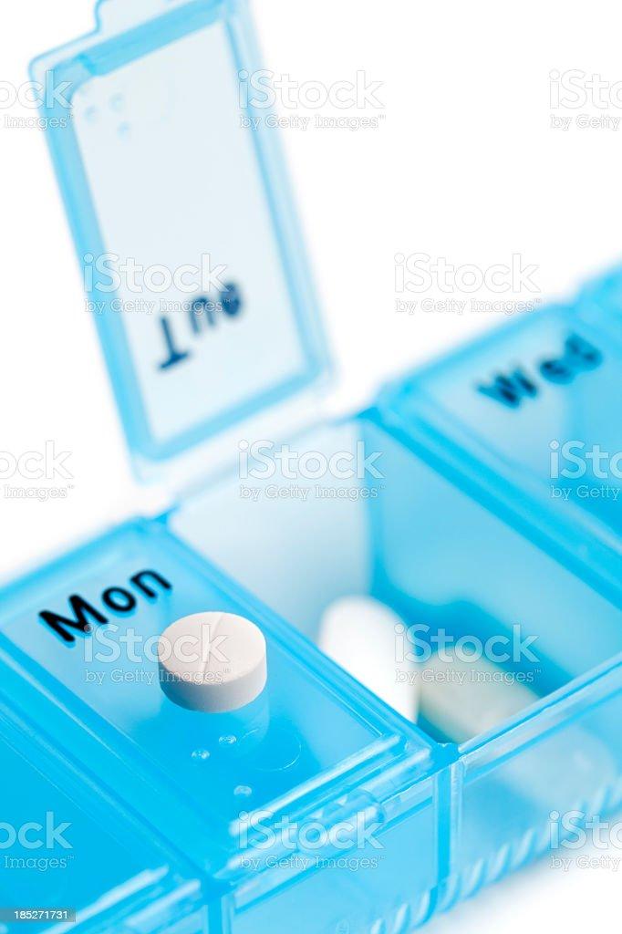 Blue pill box stock photo