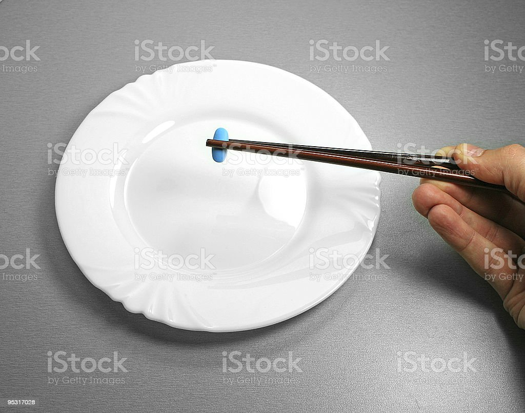 Blue pill breakfast royalty-free stock photo
