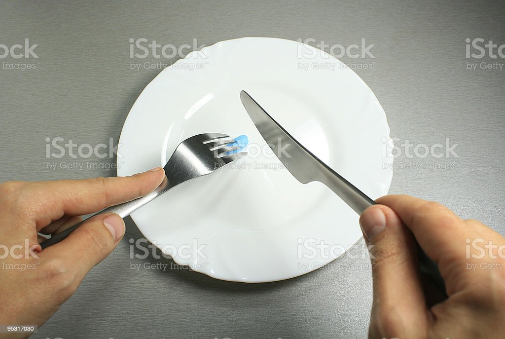 Blue pill breakfast stock photo