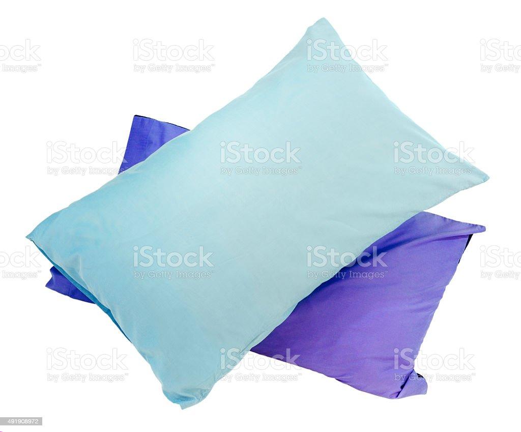 Blue pillows on white background stock photo