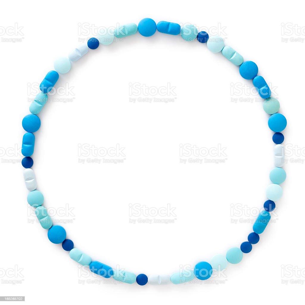 Blue pills circle royalty-free stock photo