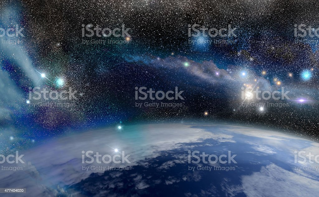 blue planet in space stock photo