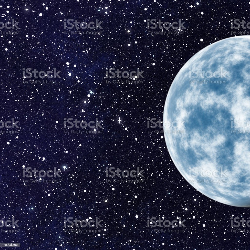 blue planet with one side shadow on cosmos stars backgrounds stock photo