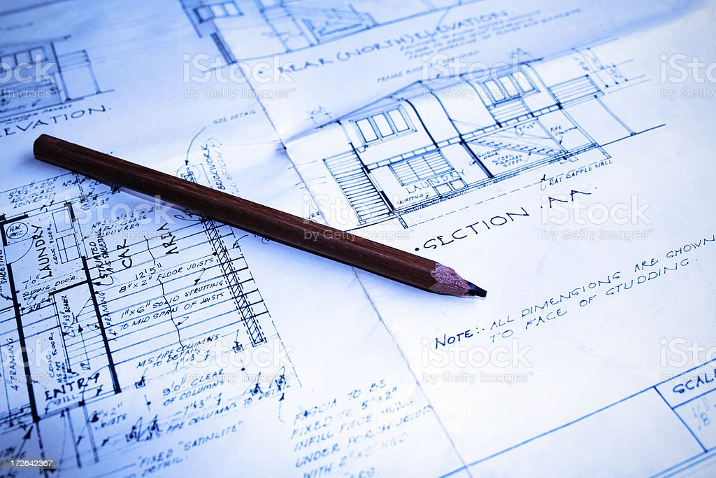blue plans: technical drawing and design royalty-free stock photo