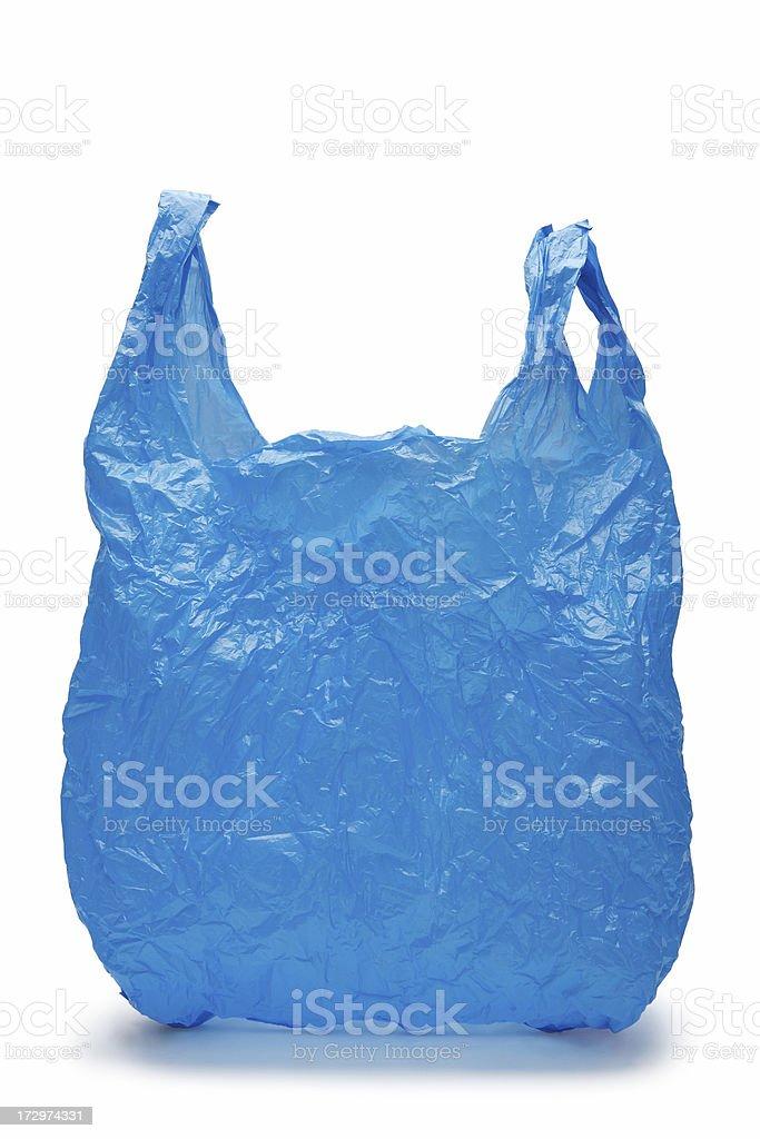 Blue plastic bag stock photo