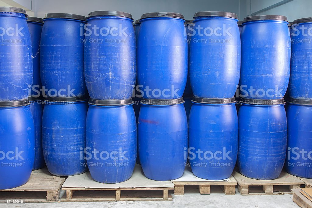 Blue Plastic barrels contain chemical inside stock photo