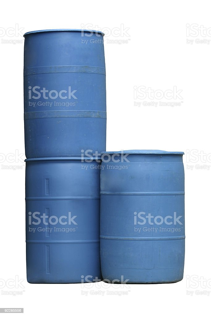 Blue Plastic Barrels Isolated stock photo