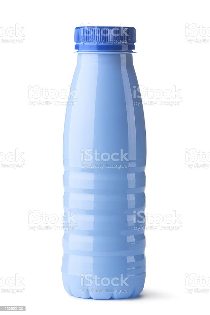 Blue plastic bottle for dairy foods royalty-free stock photo