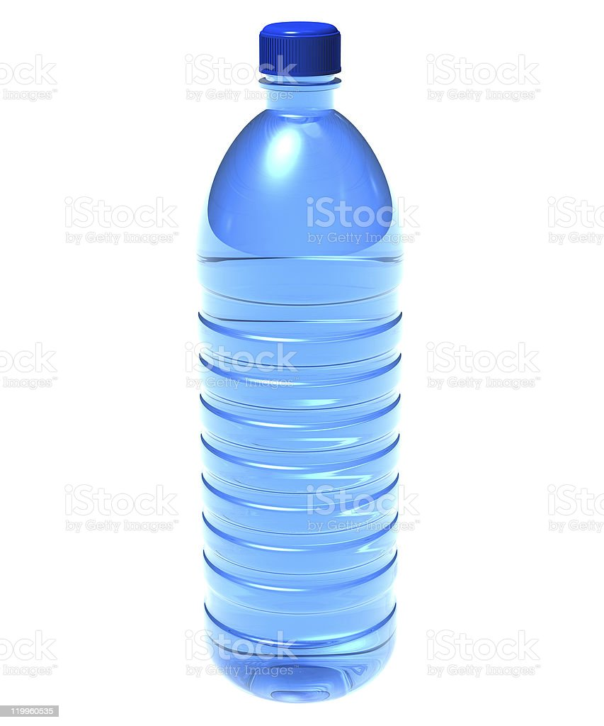 Blue plastic bottle of water on white background royalty-free stock photo