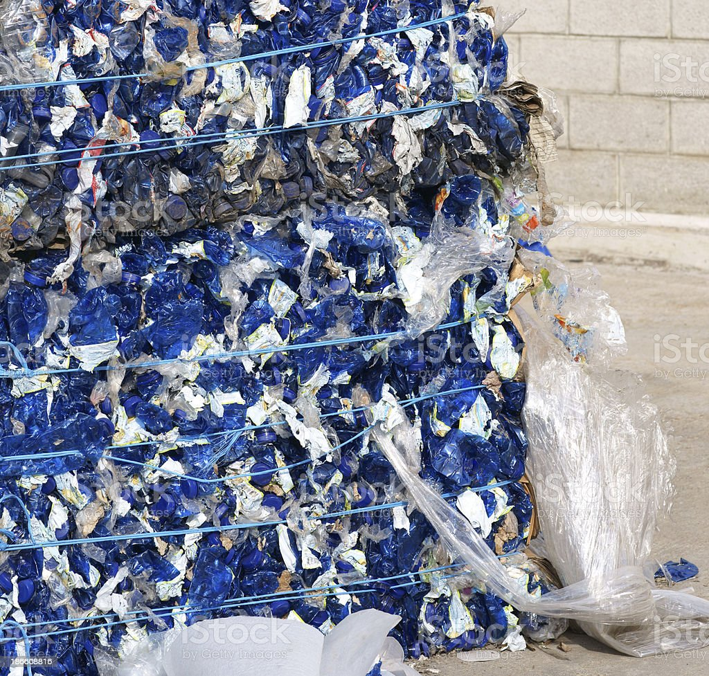 Blue plastic bottles packed for recycling royalty-free stock photo